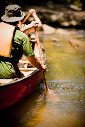 Couple on a canoe trip